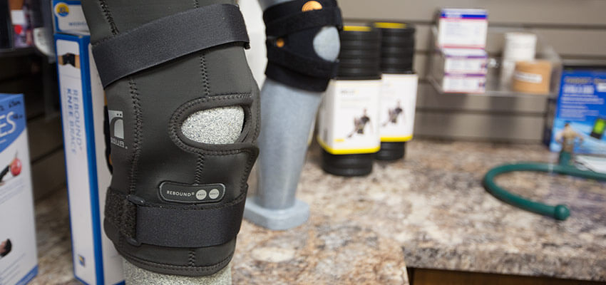 Knee braces on a mannequin